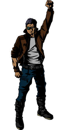 metall: Young man heavy metall pose.Vector illustration.