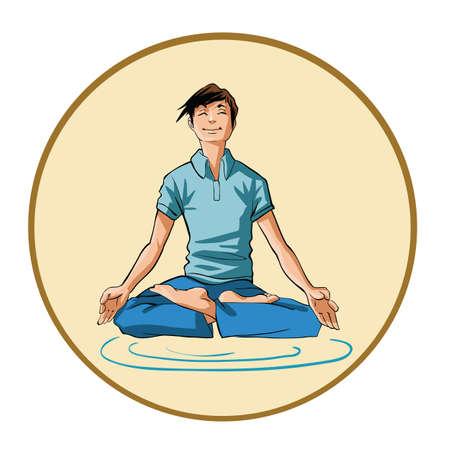 Young man meditating Çizim