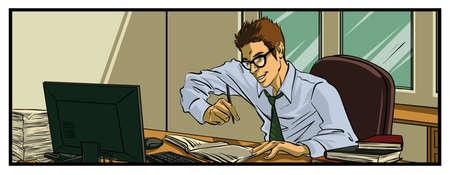 Oficinista ocupado Ilustración de vector