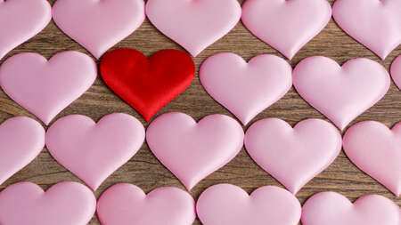 Heart pattern, A lot of hearts. Hearts on the wooden background Stock Photo