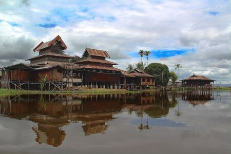 inle: Old style houses on Inle lake Myanmar Stock Photo