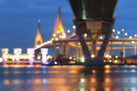 rama: Bokeh lights at Rama 9 bridge, Bangkok, Thailand