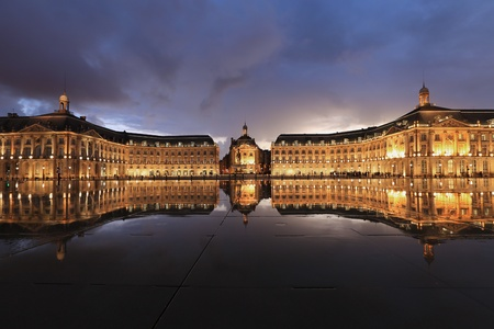 construction: Reflection of Place de la Bourse in water, Bordeaux, France