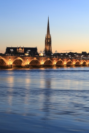 saint michael: View of Pont de Pierre bridge and  Saint Michael, Bordeaux, France