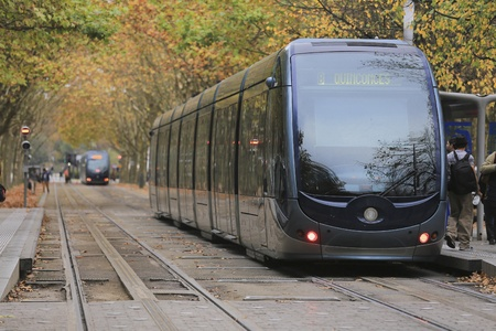 autumn trees: Bordeaux, France-October 5, 2015: Tramway is passing by the Place des Quinconces and colorful Autumn trees in Bordeaux, France