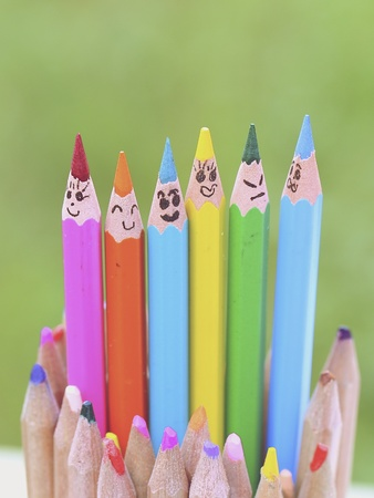 creative: Colorful pencils on nature  background