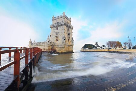 the tagus: Belem Tower designed by architecture Francisco de Arruda with river Tagus Estuary on the back Stock Photo