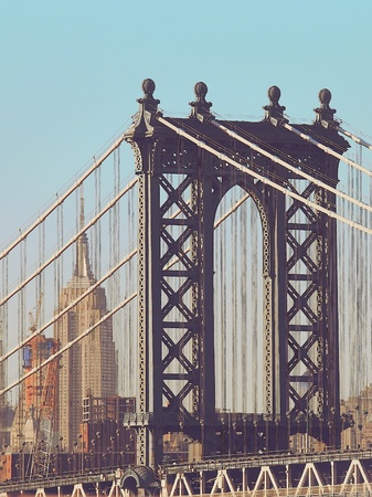 manhattan bridge: Closeup of Manhattan bridge in vintage style, New York City