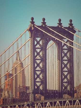 style: Closeup of Manhattan bridge in vintage style, New York City