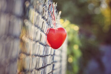 grid: Love concept, heart shape love symbol hanging on grid fence in vintage and grainy style