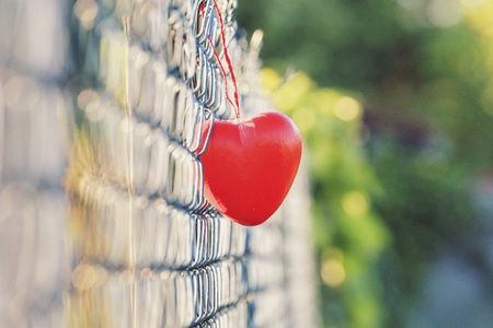 style: Love concept, heart shape love symbol hanging on grid fence in vintage and grainy style