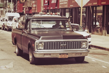 chevrolet: New York, USA - APRIL 21, 2016 : Old vintage classic Chevrolet car is on the street of New York City
