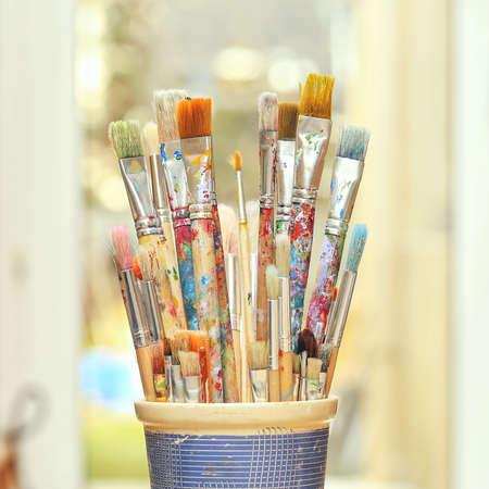creative: Selective focus of paintbrush