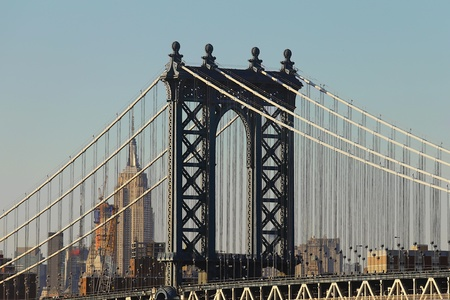 urban: Brooklyn bridge and Manhattan skyline in vintage style
