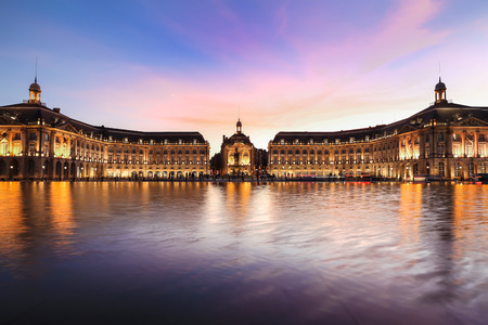 Reflection of Place De La Bourse in Bordeaux, France. A Unesco World Heritage