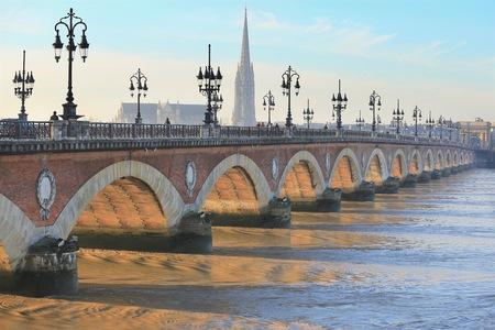 st  michel: Pont de Pierre bridge with St Michel cathedral, Bordeaux, France