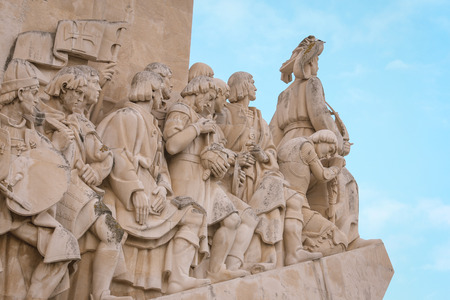 Closeup of Monument to the Discoveries, Lisbon, Portugal, Europe