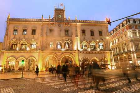 LISBON - PORTUGAL, December 24, 2015 : Rossio Station is said to be one of the most beautiful trainstations in Europe. Build in the 19th century in Neo-Manueline architectural style, Lisbon, Portugal.