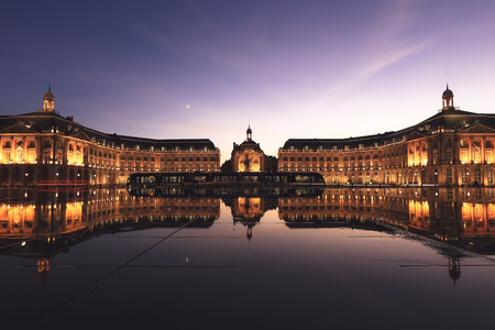 Reflection of Place De La Bourse and tramway in Bordeaux, France.