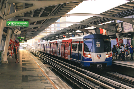 BANGKOK , THAILAND FEB 15, 2017 : BTS Sky Train is running in downtown of Bangkok.  Sky train is fastest transport mode in Bangkok