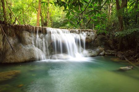 khamin: Beautiful Waterfall in Srinakarin Dam National Park , Kanchanaburi Province , Thailand