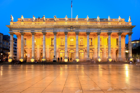 corinthian column: Bordeaux, France - September 23, 2017, Grand Theatre de Bordeaux is one of the main sights for tourist. It was opened in April 1780. Nowadays, theres a tram line in front of the building Editorial