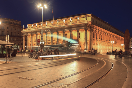 Bordeaux, France - September 23, 2017, Grand Theatre de Bordeaux is one of the main sights for tourist. It was opened in April 1780. Nowadays, theres a tram line in front of the building Editorial