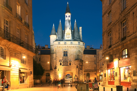 View of historical Porte Cailhau at night, Bordeaux, Gironde, Aquitaine, France