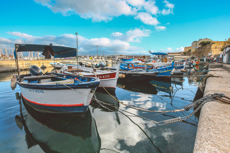 Ajaccio France - November 8, 2017 : Small wooden fishing boats moored in old port of Ajaccio South Corsica France Editorial