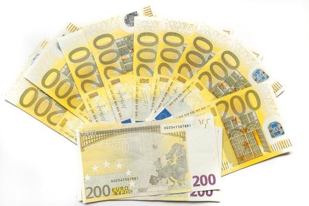200 euro notes on white background