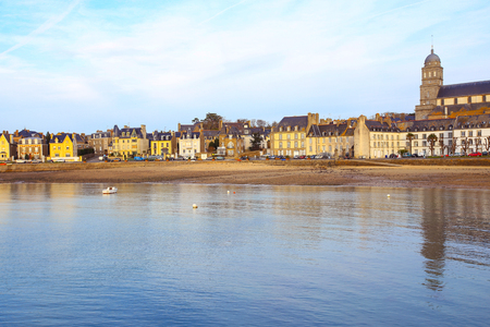 View of Typical houses at The beach of Saint-Malo, Brittany, France Stock Photo