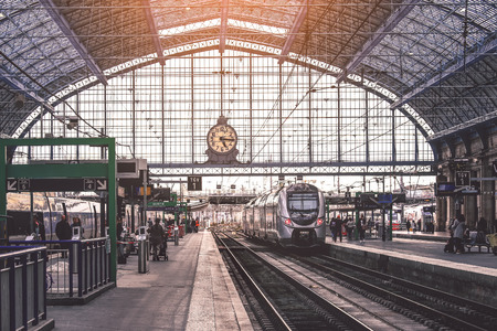 BORDEAUX, FRANCE - October 27, 2017 : Trains arrived in the main train station Bordeaux-Saint-Jean. The current station building opened in 1898.