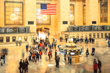 NEW YORK CITY - APRIL 20, 1016 : Famous New York City landmark Grand Central Station full of tourists and passengers in Manhattan, New York City.