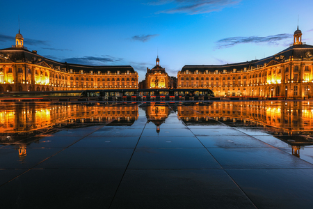 Reflection of Place De La Bourse and tram in Bordeaux, France.