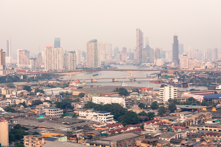 Aerial view of Cityscape with old and modern buildings in Bangkok, Thailand Imagens