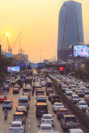 Bangkok - Thailand, February 7, 2019 : Early morning traffic jam moves slowly along a busy road in city of Bangkok