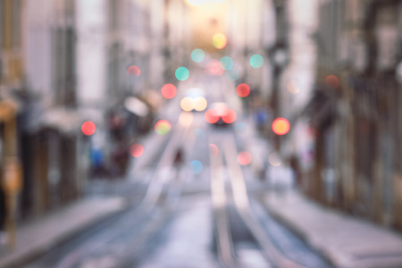 Travel blurred backgrounds : blurred image of Street in the old district of the city, Lisbon Imagens