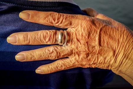 Elderly wrinkled hand