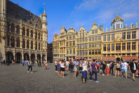Brussels - Belgium, June 8, 2018 : People visit Brussels Grand Place (Grote Markt) square. Brussels is the capital city of Belgium.