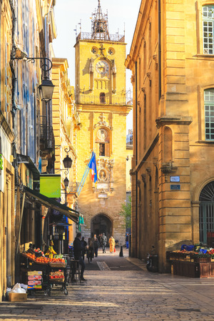 Town hall with clock tower in the old town of Aix-en-Provence in France