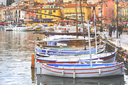 Marseille, France - April 7, 2019 : View Of colorful Buildings and boats in the small village at Port-Cassis,France