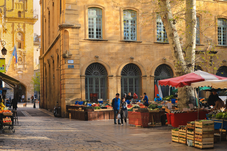 Aix-en-Provence, France - May 09, 2019 : The food market on the square in Aix-en-Provence.