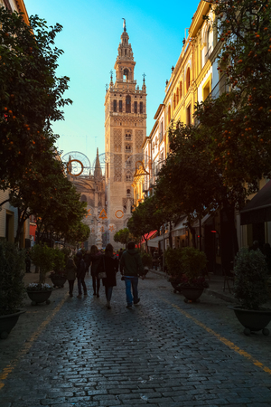 Selective focus on Cathedral of Seville Spain with orange trees on street