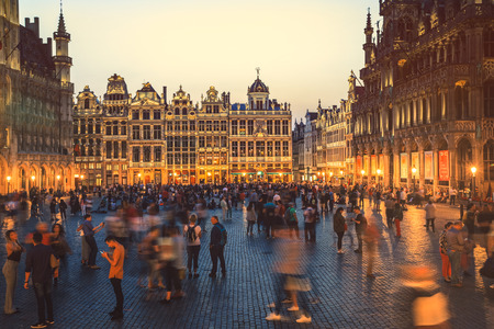 Brussels - Belgium, June 8, 2018 : Selective focus on building at Grande Place, Grote Markt, Brussels, Belgium, Europe