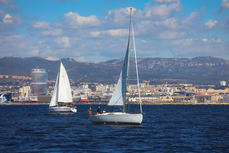 Marseille, France - April 6, 2019 : Boats sailing away from the old port of Marseille