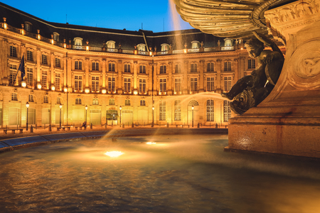 Bordeaux, France - May 19, 2019 : Fountain of the three graces, Bourse square, Bordeaux, Gironde, Aquitaine, France