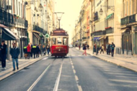 Blurred image of Street in the old district of the city, Lisbon