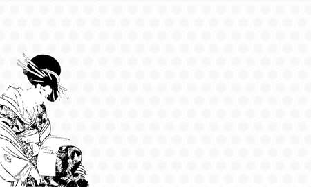 Ukiyo-e Nihonga Arrangement Illustration 스톡 콘텐츠