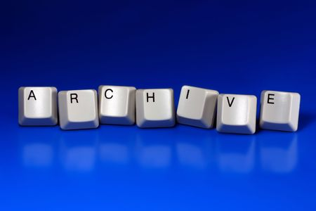 archive site: archive written with keyboard keys on blue background
