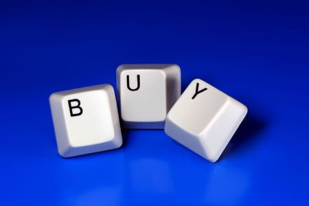 buy written with keyboard keys on blue background Stock Photo - 2546145